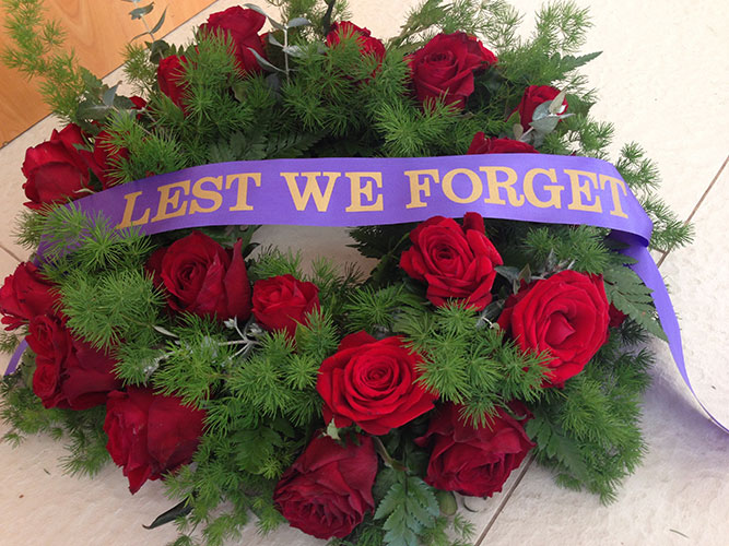 Anzac Wreath Medium Red Roses