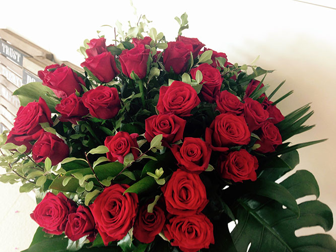 36 Red Roses in Tall Vase
