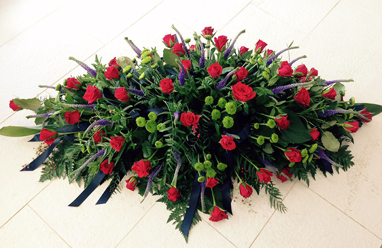 Large Premium Red Rose Casket Spray