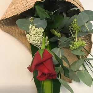 Single Red Rose with Greenery and filler