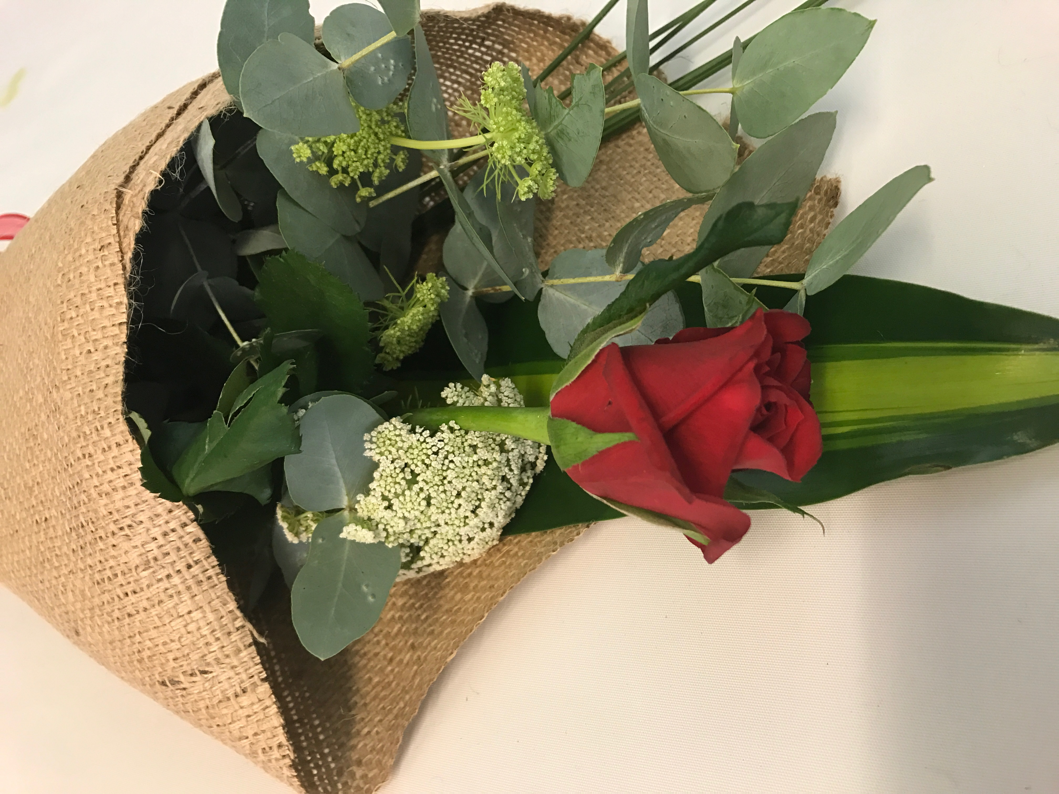 Single wrapped Red rose with Greenery & filler