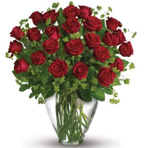 Two dozen premium red roses in a Vase arrangement
